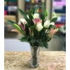 White rose and pink lily bouquet