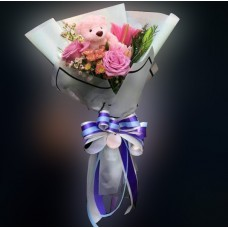 Pink rose, lily and Teddy Bear bouquet